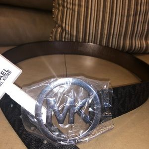 "Black Leather Michael Kors ""MK"" Belt BRAND NEW"